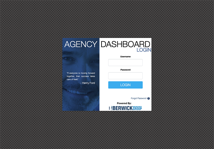 log-in page of your Agency Dashboard