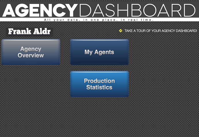 main page of your Agency Dashboard